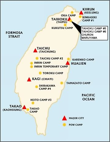 Map of POW Camps on Taiwan (Formosa)